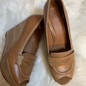 Lucky Brand peep toe wedge penny loafers, 6.5